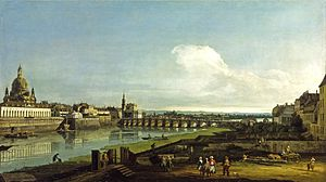 Dresden From the Right Bank of the Elbe Above the Augustus Bridge - Image: Bernardo Bellotto, il Canaletto Blick auf Dresden mit der Frauenkirche (North Carolina Museum of Art)