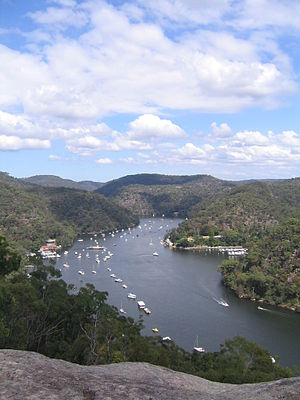 Berowra Waters Ferry - The ferry can be seen in the mid-distance of this image of Berowra Creek