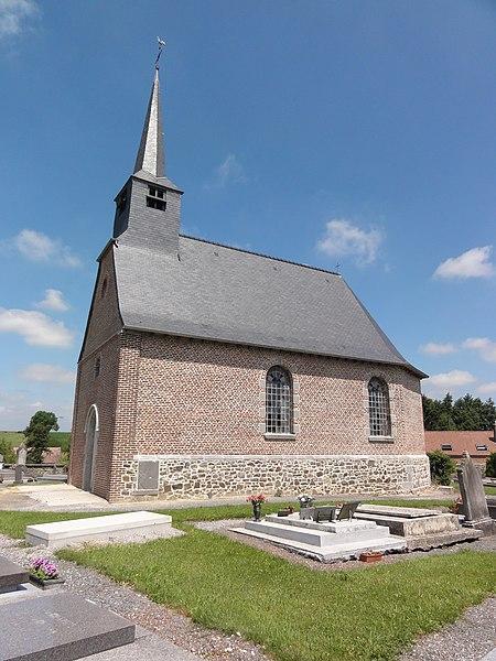 Bersillies (Nord, Fr) église, vue latérale.