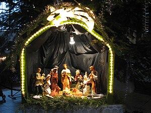 The small Bethlehem scene under the Christmas ...