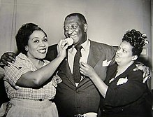 Cast of Beulah radio program, 1952. From left: Lillian Randolph (Beulah), Ernest Whitman (Bill), Ruby Dandridge (Oriole).