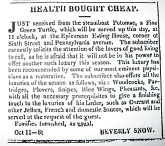 Snow Riot - Advertisement  for Beverly Snow 's Epicurean Eating House, Washington D.C. Oct 15, 1833 Daily National Intelligencer ,p.2.