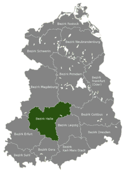 Location of Bezirk Halle within the German Democratic Republic