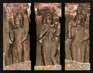 Greco-Buddhist art - Statues on the architraves of the torana gateway, associated with Kharosthi marks. 100-75 BC.