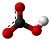 Ball and stick model of a bicarbonate anion