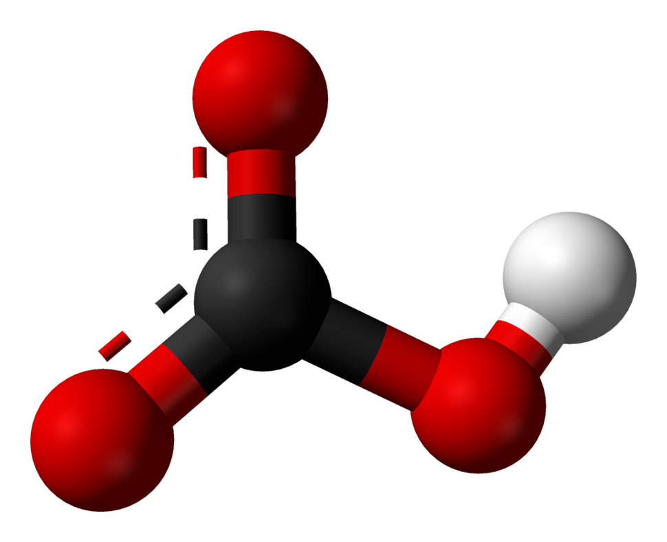 Ball and stick model of bicarbonate