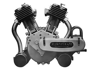 internal combustion engine with two banks of cylinders at an angle resembling a