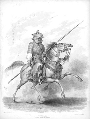 Kanuri people - Ceremonial bodyguard of the Sheikh of Bornou in his full regalia, after a drawing by a British visitor in the 1820s. The mounted knight was central to the Bornu state, and many Kanuri people still value horsemanship and horses.