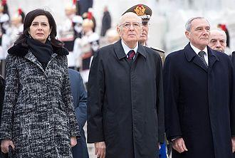 Pietro Grasso - Grasso with President Giorgio Napolitano and the President of the Chamber of Deputies Laura Boldrini.