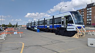 Flexity Freedom - Vehicle 1001 showcased in Edmonton during Valley Line LRT construction