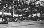 Bombed hangar at Ōmura 1945.jpg
