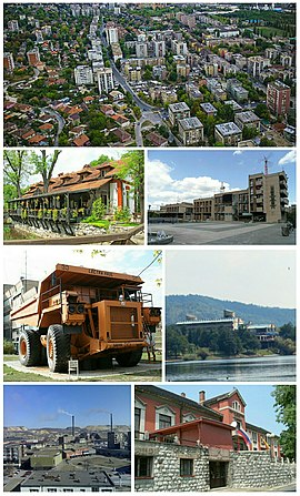 Bor- photomontage (Panorama of Bor, Brestovac Spa, Cultural center, Dumper in Park Museum, Hotel near Bor Lake, View on Mining and Smelting Basin Bor, Technical faculty)