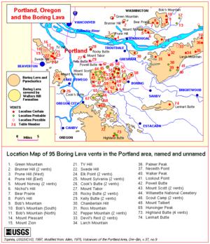 Boring Lava Field - Locations of Boring vents in the Portland, Oregon area