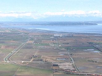 Boundary Bay - Aerial view of Boundary Bay as seen from above its western shore