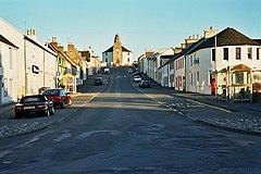Bowmore Main Street and the Kilarrow Parish Church