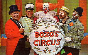 Bozo the Clown - WGN-TV Chicago's 1960s cast of Bozo's Circus. From left: Ringmaster Ned (Ned Locke), Mr. Bob (bandleader Bob Trendler), Bozo (Bob Bell), Oliver O. Oliver (Ray Rayner) and Sandy (Don Sandburg).