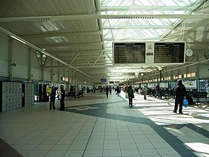 Bradford Interchange - The bus station concourse at Bradford Interchange