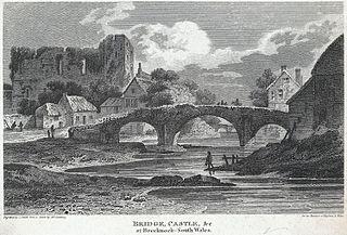 Bridge, castle, &c: at Brecknock-south Wales