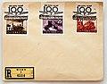 Briefmarke Österreich 12 25 und 35 Eisenbahnjubiläum Wien-Florisdorf 23 Nov 1937.JPG