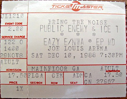 "N.W.A co-headlined Public Enemy's 1988 ""Bring the Noise"" concert tour. Bring the Noise Tour at Joe Louis Arena 1988-12-10 (ticket).jpg"