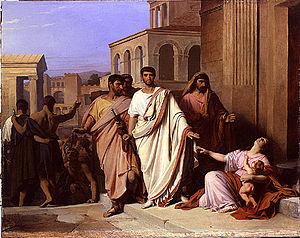 Pierre-Nicolas Brisset - Gaius Gracchus Summoned by the Senate (1840)