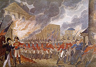 Washington, D.C. - Following their victory at the Battle of Bladensburg, the British entered Washington, D.C., burning down buildings including the White House.