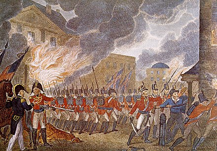 Following their victory at the Battle of Bladensburg, the British entered Washington, D.C., burning down buildings, including the White House British Burning Washington.jpg