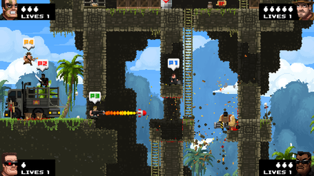 Broforce is a run-and-gun platform game that spoofs on several action film heroes Broforce four players.png
