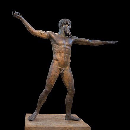 The Artemision Bronze or God of the Sea, that represents either Zeus or Poseidon, is exhibited in the National Archaeological Museum. Bronze Zeus or Poseidon NAMA X 15161 Athens Greece.jpg