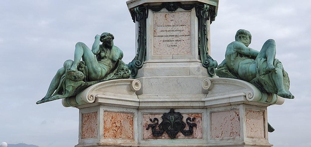 Bronze replica of Day and night after Michelangelo sculpture on the tomb Giuliano de' Medici-Piazzale Michelangelo