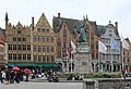 Bruges, the western side of the town square, statue of Jan Breydel & Pieter de Coninck.JPG