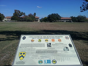 Fort Clark, Texas - Historical marker about the Buffalo Soldiers, at Fort Clark.