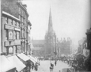 Bull Ring, Birmingham - The Bull Ring viewed from the High Street in the 1880s.