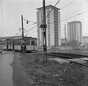 Trams in Karlsruhe - A Kriegsstraßenbahnwagen wartime tramcar with two-axle trailers in 1961