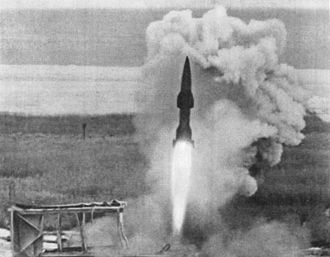 Surface-to-air missile - A Wasserfall missile lifts off during a test flight.