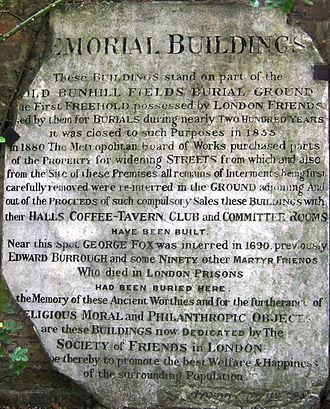 Quaker Gardens, Islington - Bomb-damaged foundation tablet from the Memorial Buildings, outlining the site's history