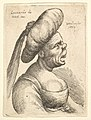 Bust of woman with wide open mouth and up-turned nose, wearing large flat turban with cloth hanging down behind in profile to right MET DP823688.jpg