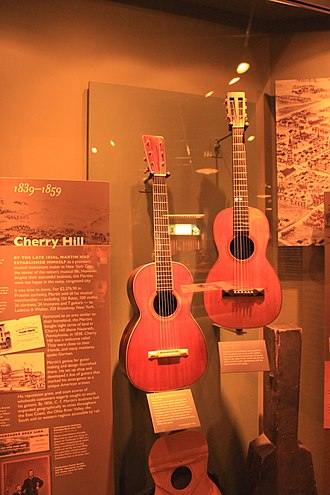 Parlor guitar - Image: C. F. Martin Spanish style guitar (c.1845), Martin Style 3 17 (1859) C.F. Martin Guitar Factory 2012 08 06 011