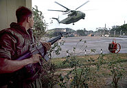 CH-53 landing at Defense Attaché Office compound, Operation Frequent Wind