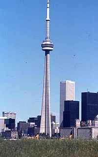 The CN Tower was completed in 1976, becoming the world's tallest free-standing structure. CN Tower 1976.jpg