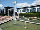 Modern office block c.2000, with water feature in foreground