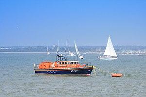 Calshot Spit - RNLI Tyne class lifeboat at Calshot Spit mooring