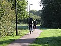 Cambridge cyclists crossing Coldham's Common - geograph.org.uk - 2095203.jpg
