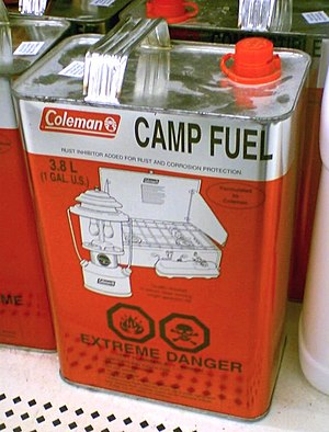 Coleman Camp Fuel, also known as white gas, is a common naphtha fuel used in many lanterns and torches