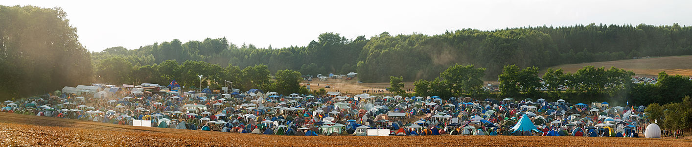 Partial view of the camping area at the Rock Festival Rocco del Schlacko, Germany. August 2010