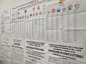 Candidate lists at a Rome polling station, 4 March 2018 (40688224901).jpg