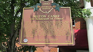 Milton Caniff - Milton Caniff Ohio Historical Marker located at the Highland County District Library in Hillsboro, Ohio