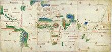 Ancien planisphère représentant l'Europe, l'Afrique et une partie de l'Asie occidentale. Elle montre également quelques côtes à l'ouest, celles du Brésil actuel, ainsi que quelques îles des Caraïbes.