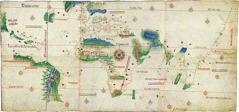 Cantino planisphere 1502, one of the earliest surviving charts showing the explorations of Pedro Alvares Cabral to Brazil. The Tordesillas line is also depicted. Cantino planisphere (1502).jpg