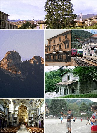 Canzo - Clockwise from top: Canzo skyline, an historical hotel, Canzo-Asso railway station, Saint Mir's hermitage, Catholic youth summer camp in Canzo, Saint Stephen parish church (interior), Corni di Canzo (Canzo's Horns) mountain top.